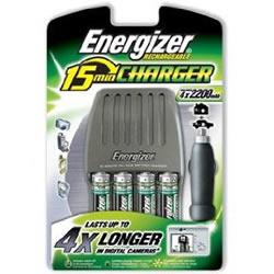 AA en AAA Energizer 15-Minuten oplader met stopcontact en auto sigarettenaansteker adapter